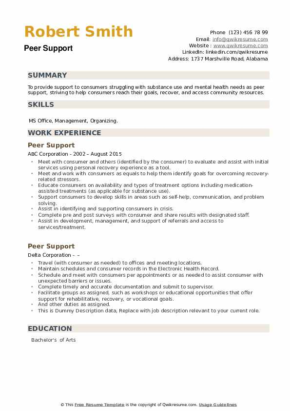 Peer Support Resume example