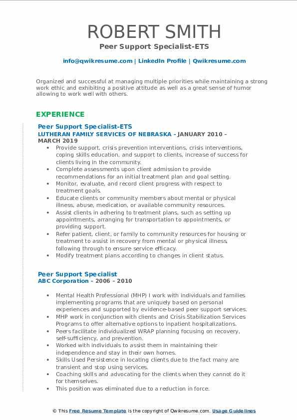 Peer Support Specialist-ETS Resume Model