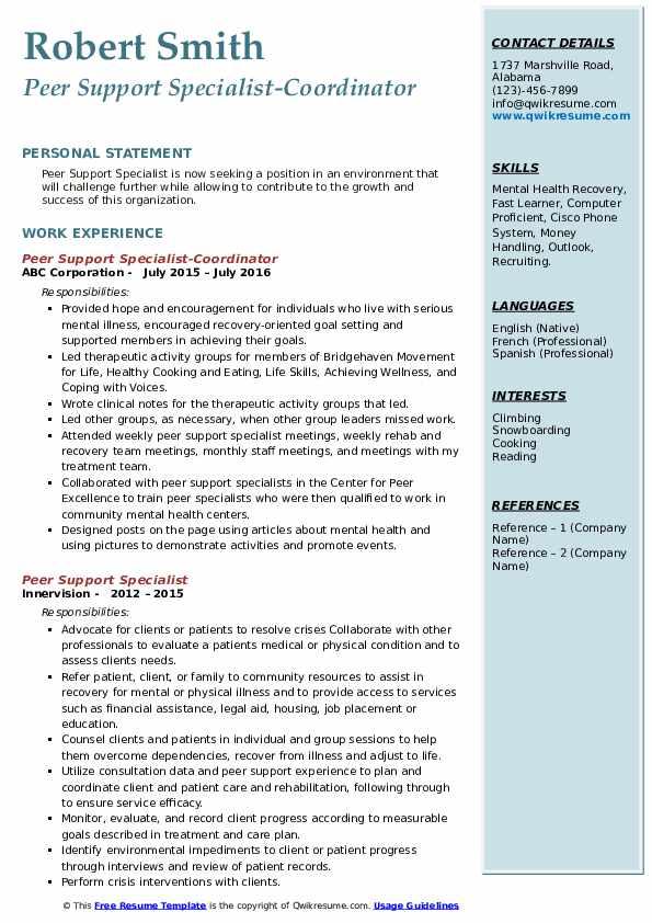 Peer Support Specialist-Coordinator Resume Model