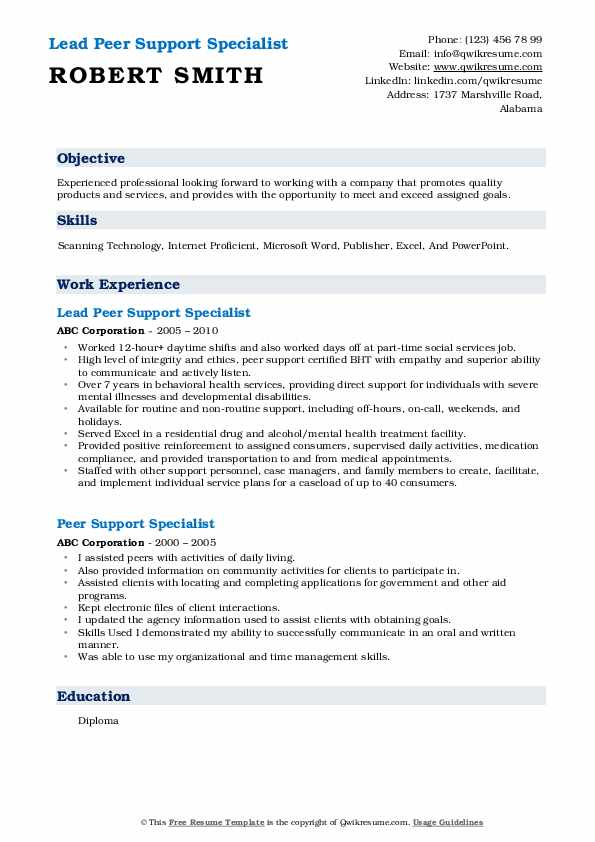 Lead Peer Support Specialist Resume Model