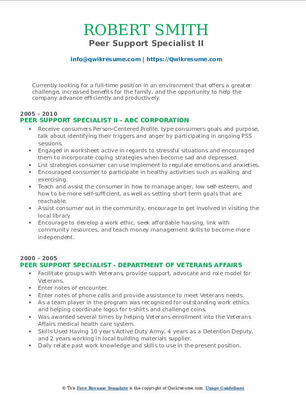 Peer Support Specialist Resume Samples Qwikresume