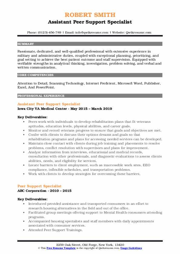 Assistant Peer Support Specialist Resume Template