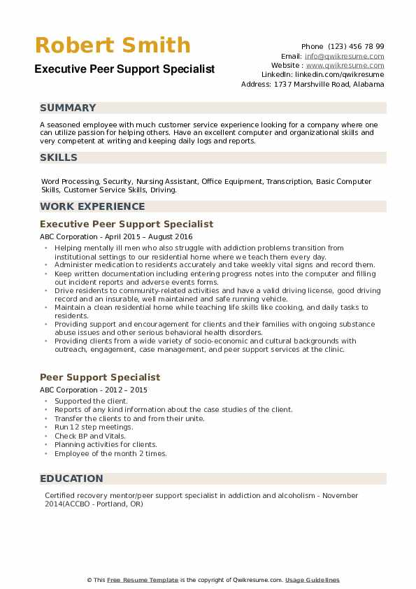 Executive Peer Support Specialist Resume Model