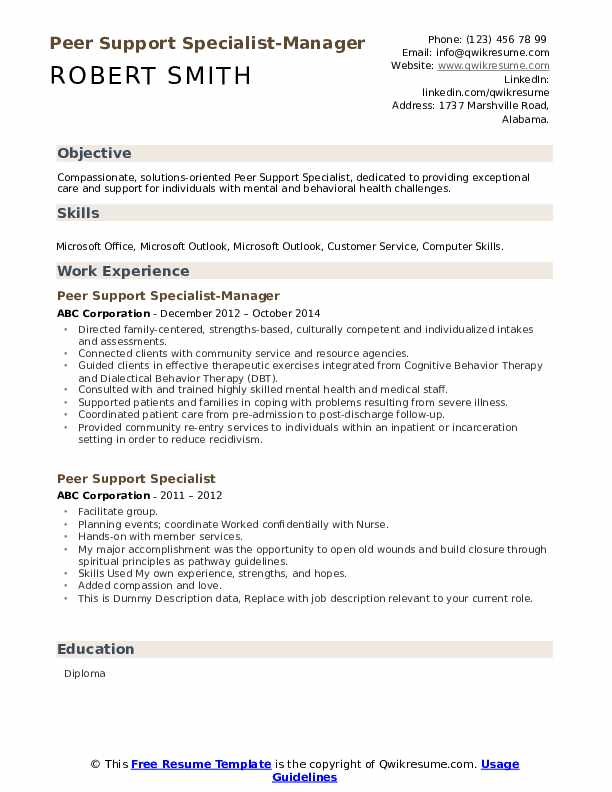 Peer Support Specialist-Manager Resume Sample