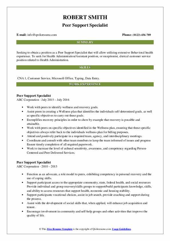 Peer Support Specialist Resume example