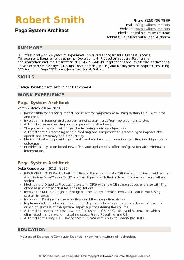 Pega System Architect Resume example