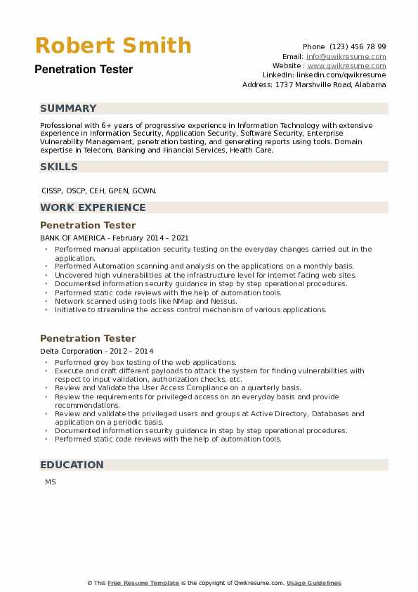 Penetration Tester Resume example