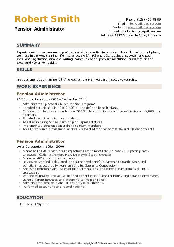 Pension Administrator Resume example
