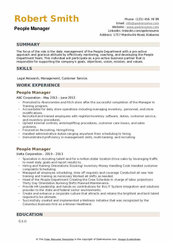 People Manager Resume example
