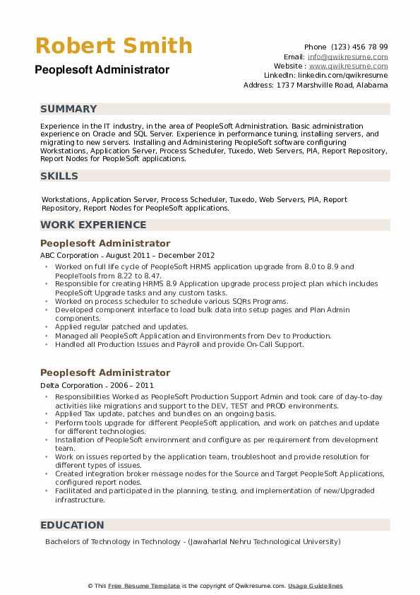 Peoplesoft Administrator Resume example
