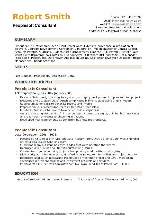 Peoplesoft Consultant Resume example