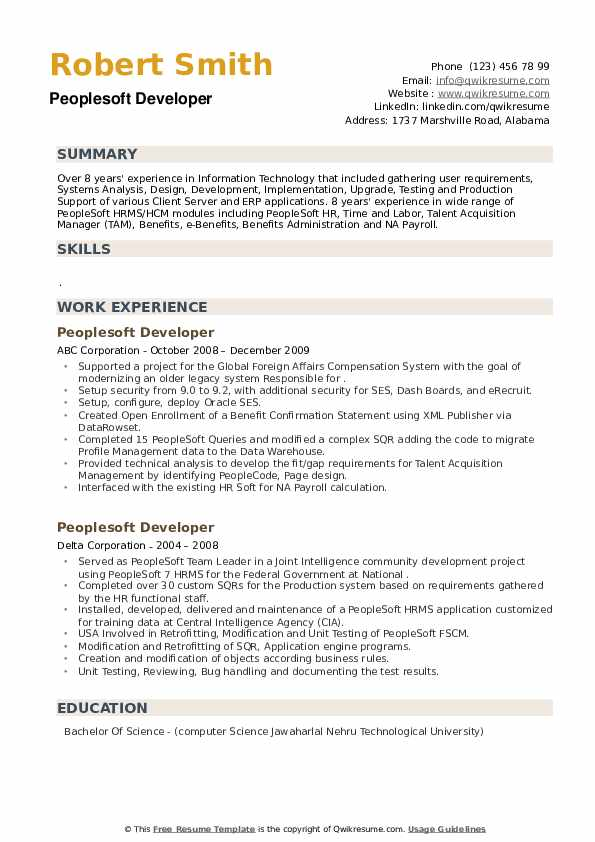 Peoplesoft Developer Resume example