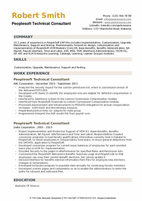 Peoplesoft Technical Consultant Resume Samples Qwikresume