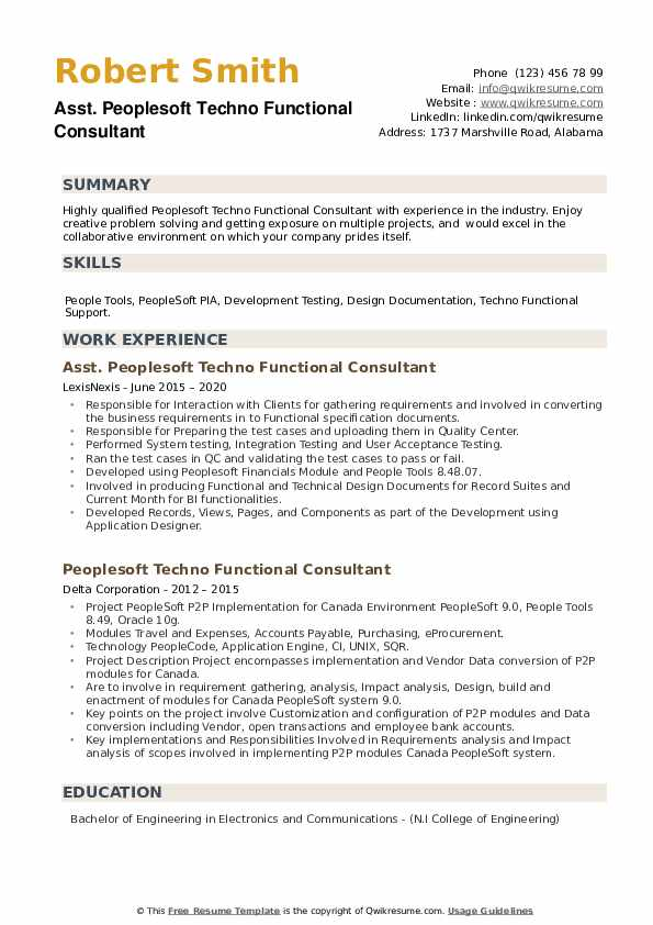 Peoplesoft Techno Functional Consultant Resume example