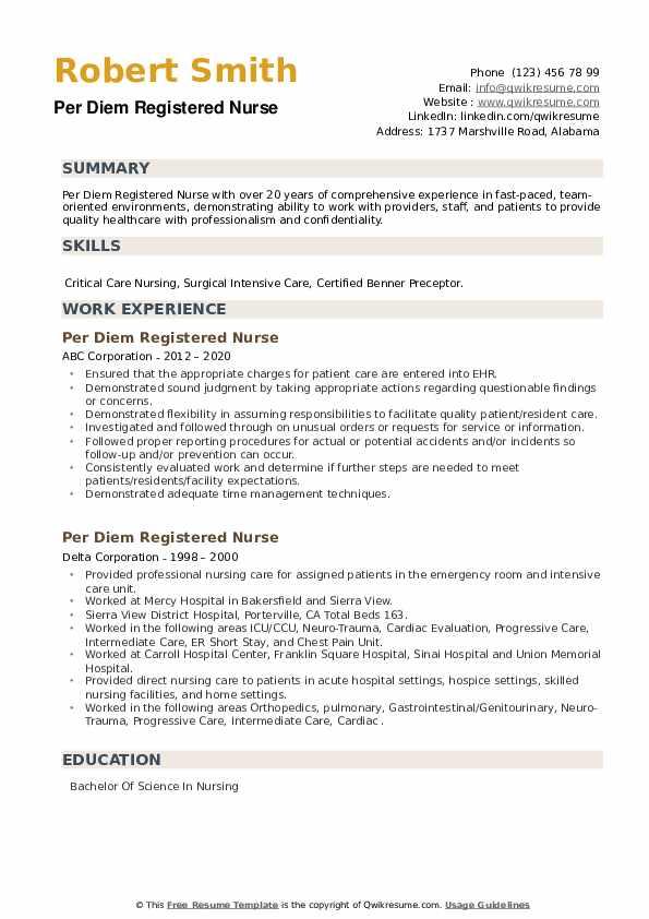 Per Diem Registered Nurse Resume example