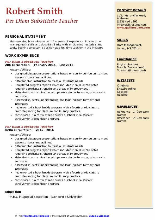 Per Diem Substitute Teacher Resume example