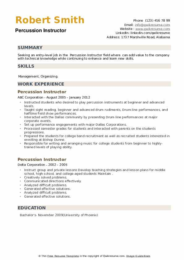 Percussion Instructor Resume example