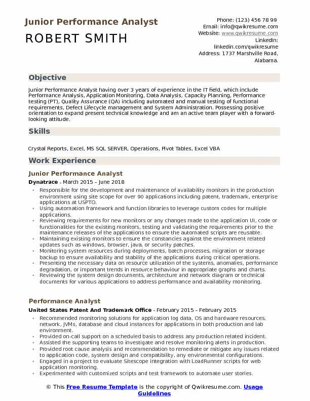 Junior Performance Analyst Resume Template