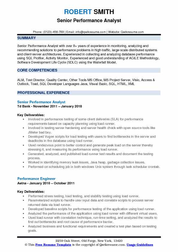 Senior Performance Analyst Resume Template