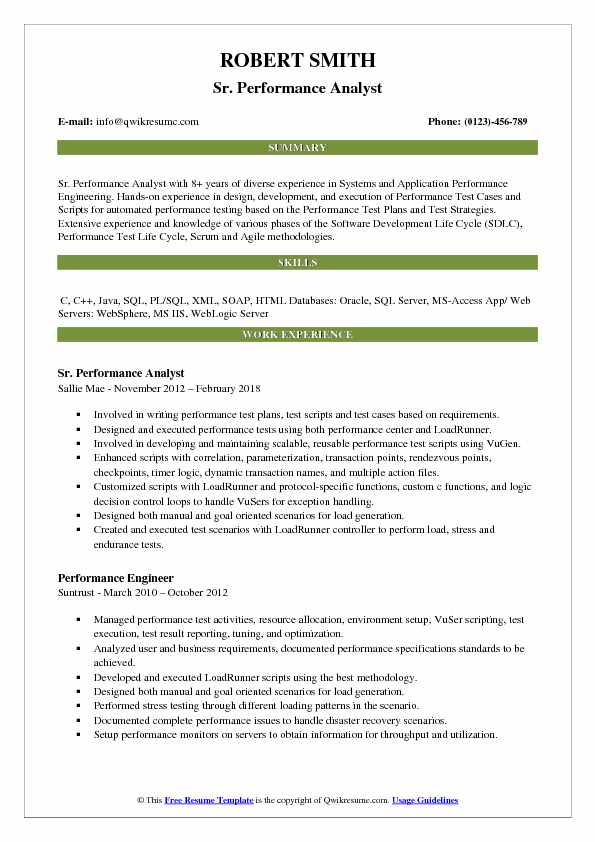 Sr. Performance Analyst Resume Template