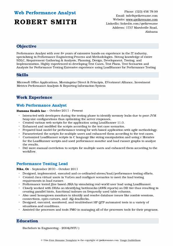 Web Performance Analyst Resume Example