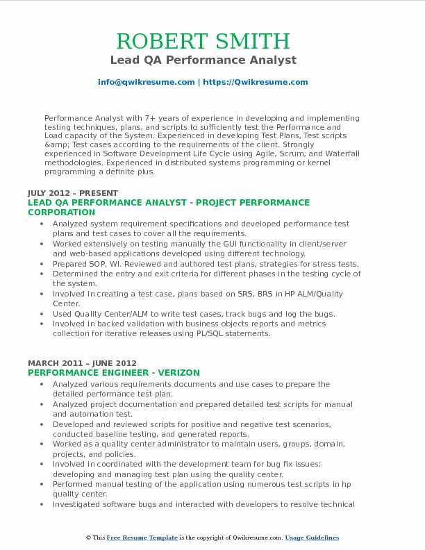 Lead QA Performance Analyst Resume Format