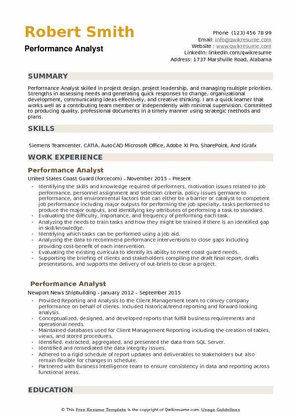 Performance Analyst Resume example