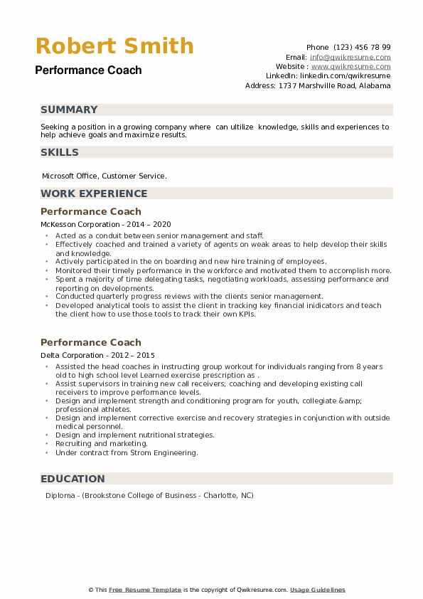 Performance Coach Resume example