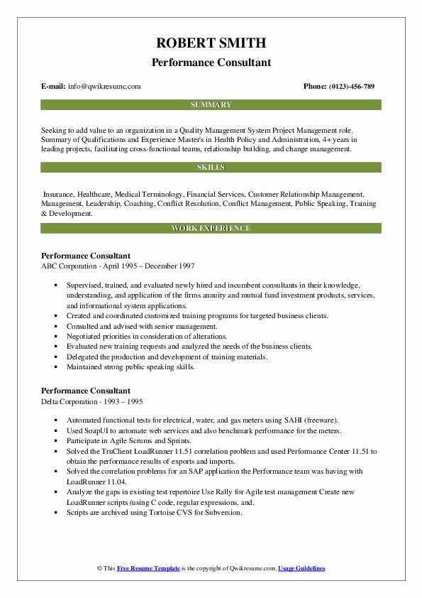 Performance Consultant Resume example