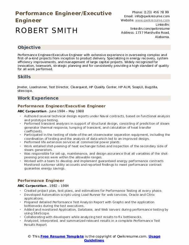 Performance Engineer/Executive Engineer Resume Model