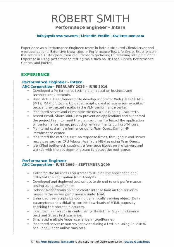 Performance Engineer - Intern Resume Format