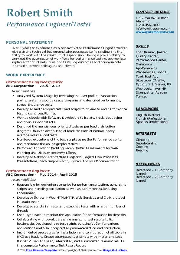 Performance Engineer/Tester Resume Example