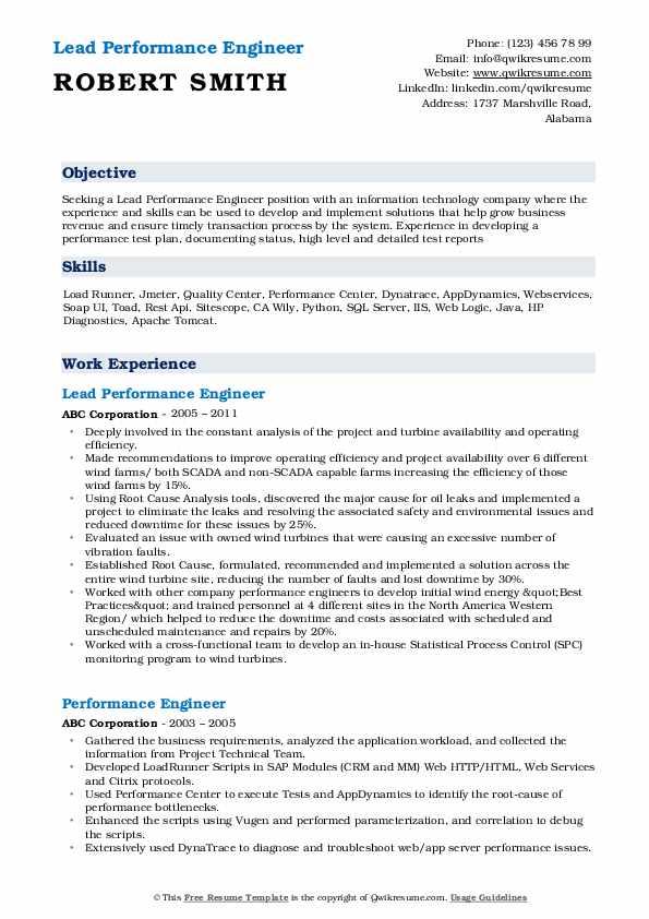 Lead Performance Engineer Resume Template