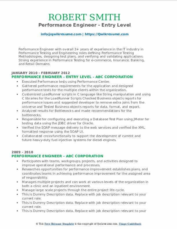Performance Engineer - Entry Level Resume Sample