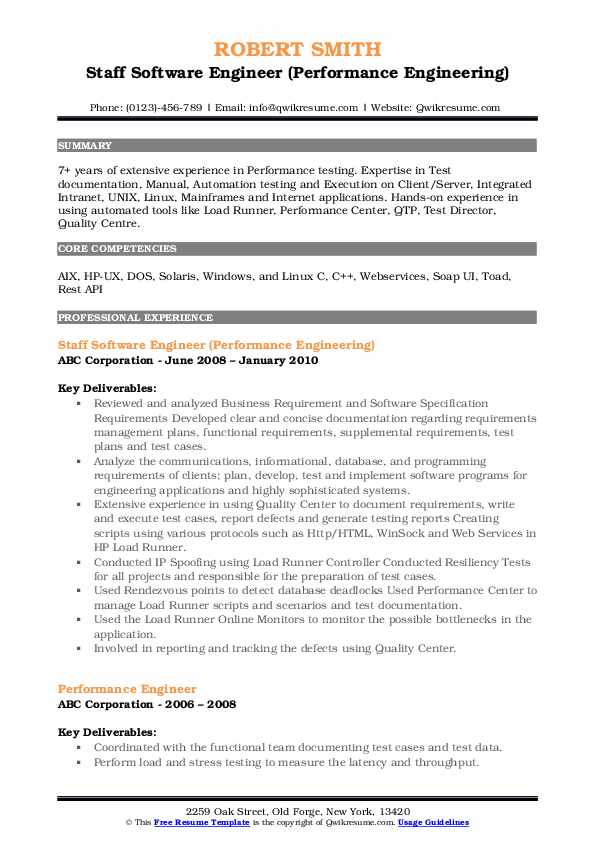 Staff Software Engineer (Performance Engineering) Resume Template