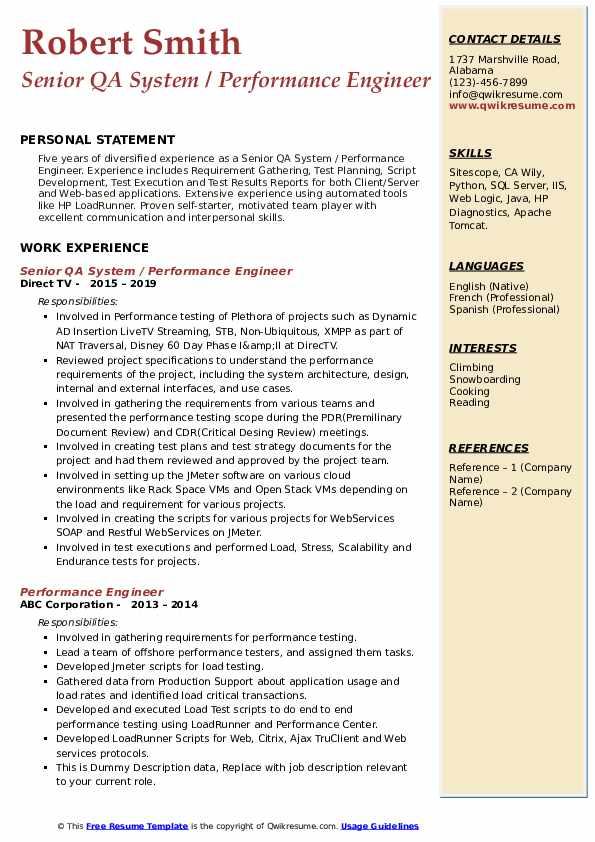 Senior QA System / Performance Engineer Resume Example