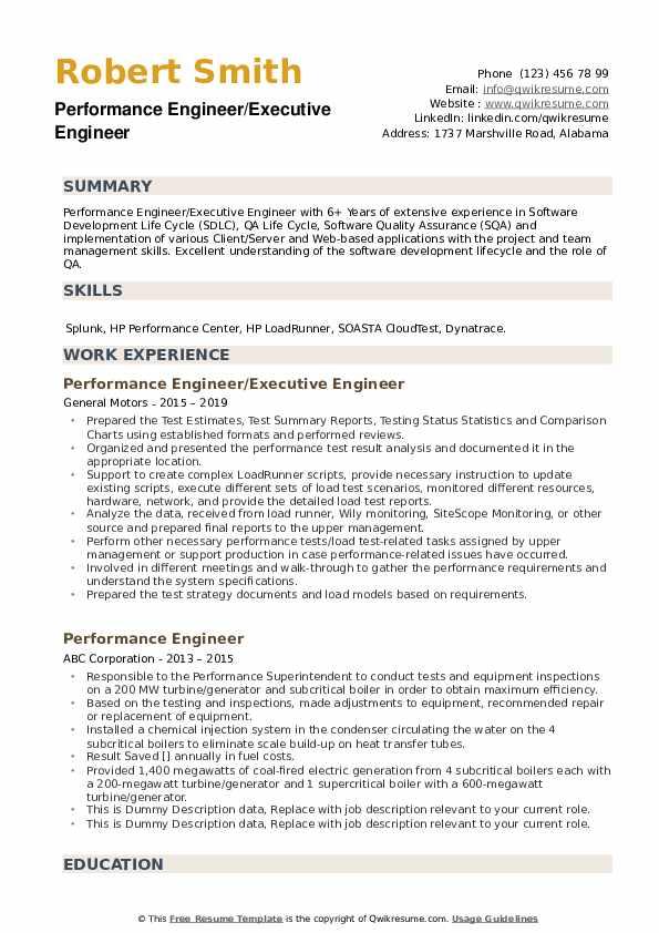 Performance Engineer/Executive Engineer Resume Sample