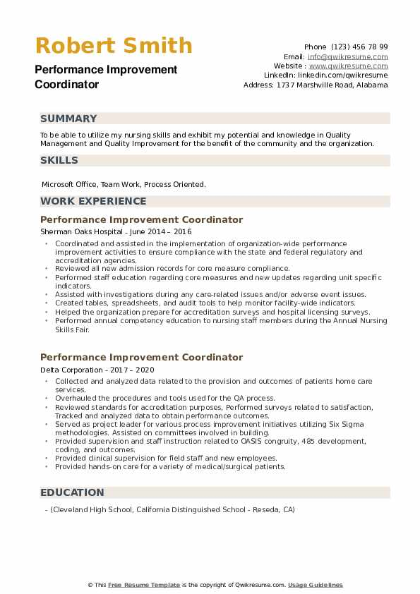 Performance Improvement Coordinator Resume example