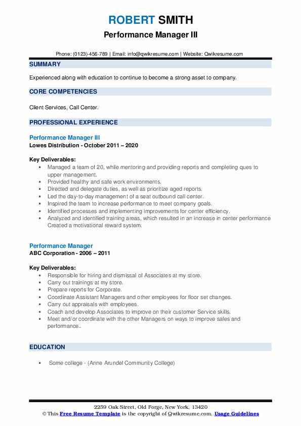 performance manager resume samples  qwikresume