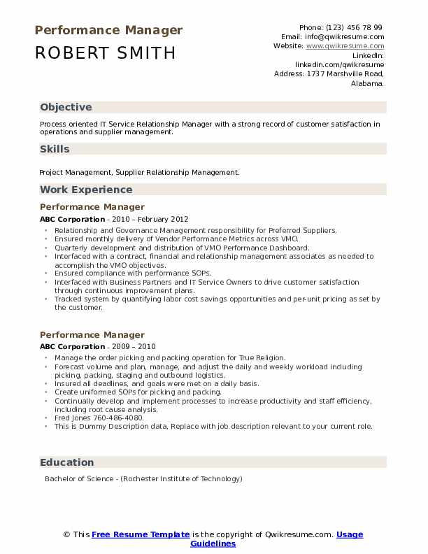 Performance Manager Resume example