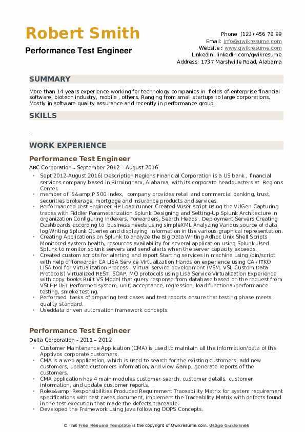 Performance Test Engineer Resume example