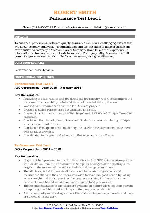 performance test lead resume samples  qwikresume
