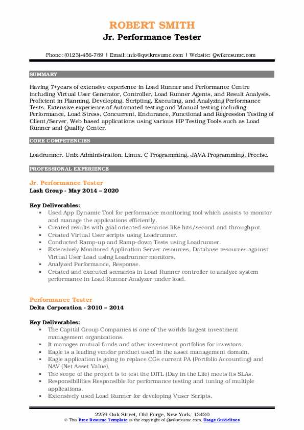 performance tester resume samples  qwikresume