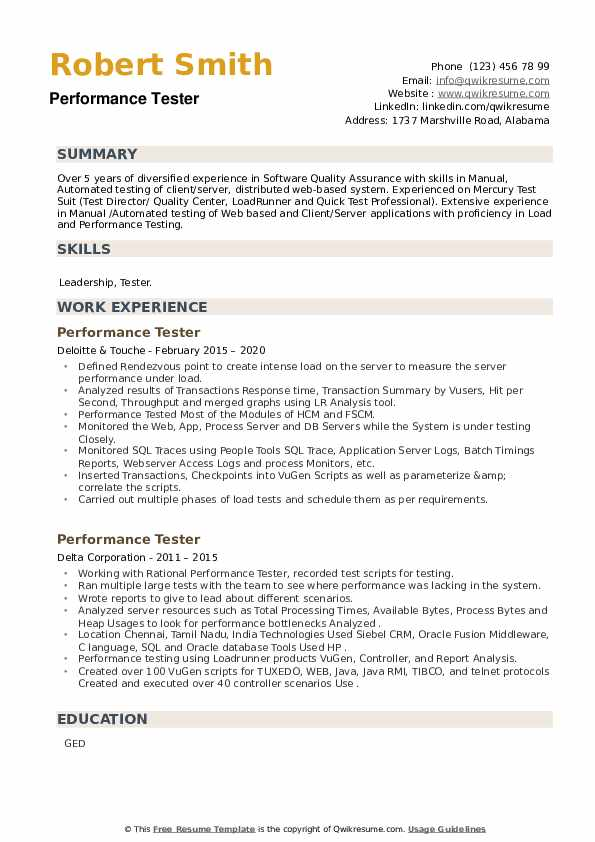 Performance Tester Resume example