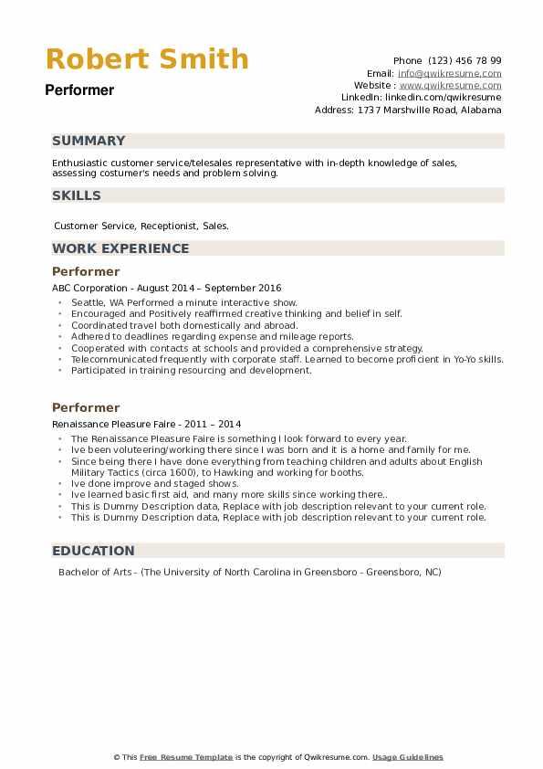 Performer Resume example