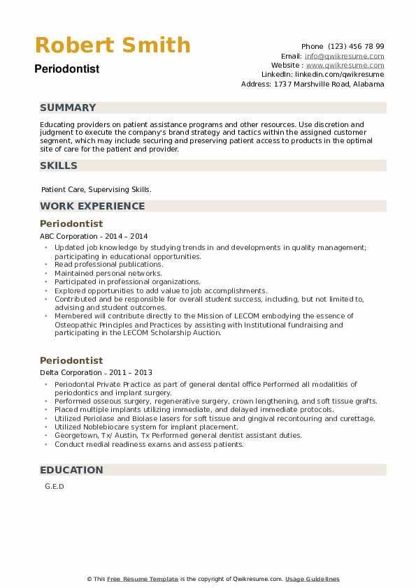 Periodontist Resume example