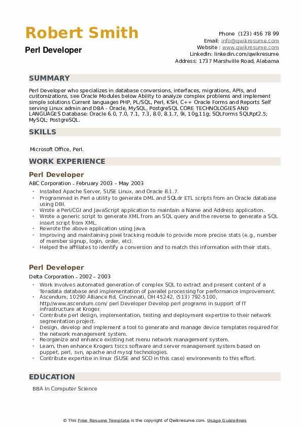Perl Developer Resume example