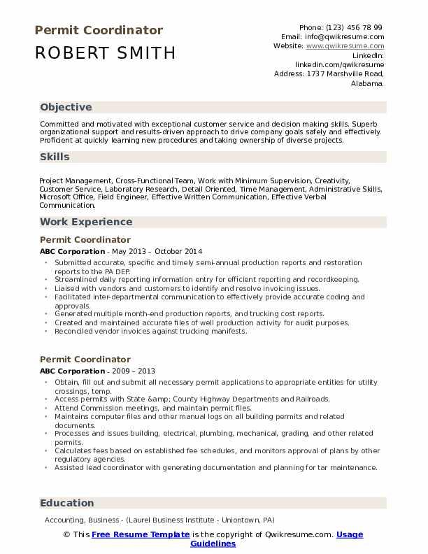 Permit Coordinator Resume example