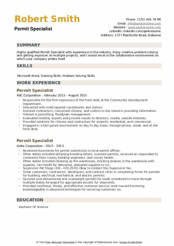 Permit Specialist Resume example