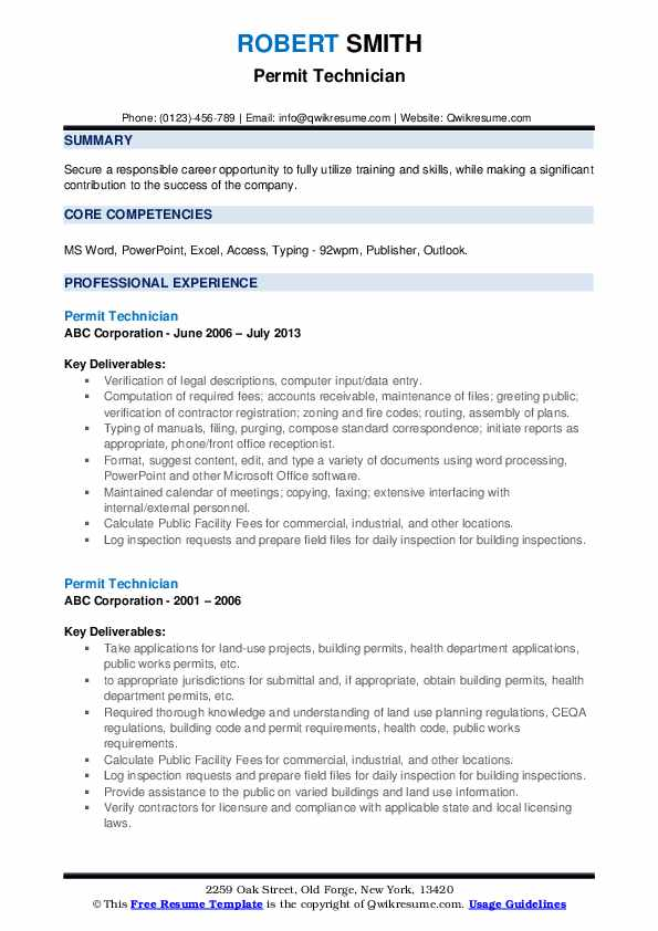 Permit Technician Resume example